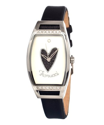 Black & Silver Heart Mirror Watch