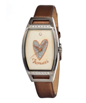 Brown & Cream Heart Mirror Watch