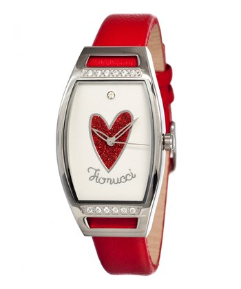 Red & White Heart Mirror Watch