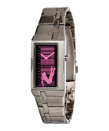 Silver & Pink Fun Watch
