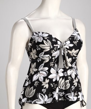 Black Tropical Plus-Size Tankini Top