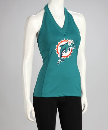 Aqua Miami Dolphins Blown Coverage Halter Top