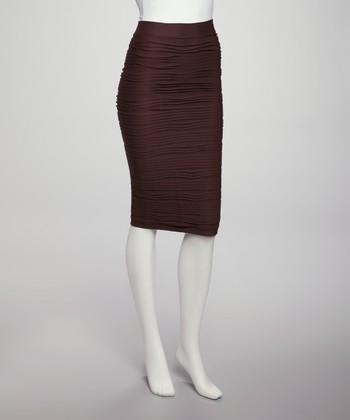 tabeez brown pencil skirt zulily
