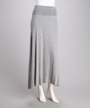 Gray Fold-Over Maxi Skirt