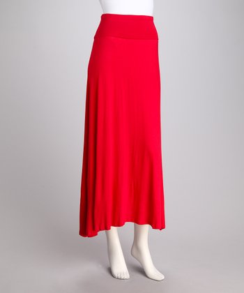 Red Foldover Maxi Skirt