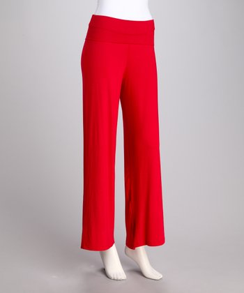 Red Fold-Over Palazzo Pants