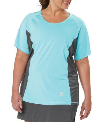 Aqua Color Block Tee - Plus