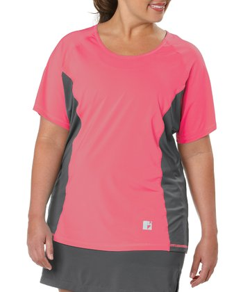 Coral Color Block Tee - Plus