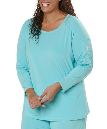Aqua Scoop Neck Tee - Plus