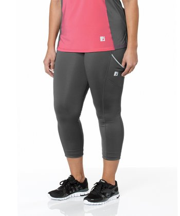 Charcoal Tech Capri Leggings - Plus