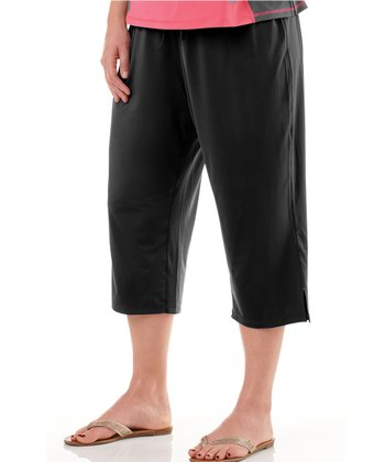 Black Capri Lounge Pants - Plus