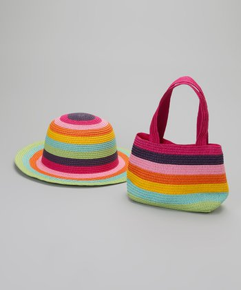 Pink & Green Rainbow Stripe Sunhat & Purse