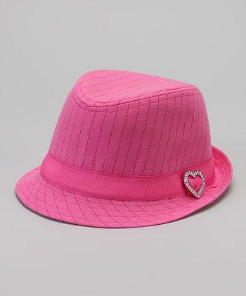 Pink Heart Pinstripe Fedora