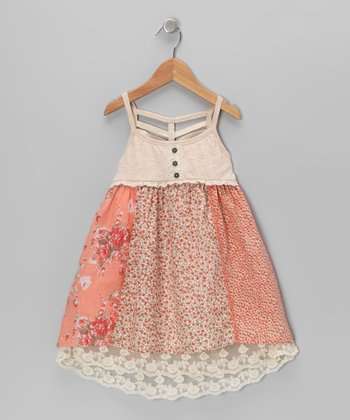 Coral & Cream Lace Underlay Dress - Toddler & Girls