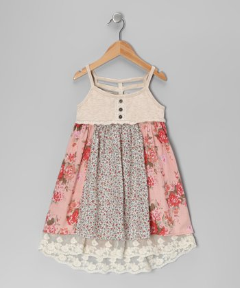 Pink & Cream Lace Underlay Dress - Toddler & Girls