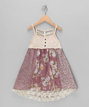 Purple & Cream Lace Underlay Dress - Toddler & Girls