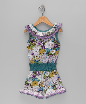 Purple Floral Ruffle Jersey Romper - Toddler & Girls