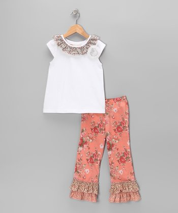 Coral & Cream Floral Top & Flare Pants - Toddler & Girls