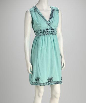 Blue Lace Surplice Dress