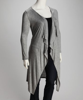 Gray Ella Plus-Size Open Cardigan