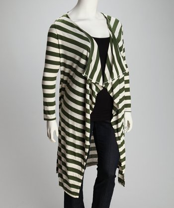 Green & White Stripe Ella Open Cardigan - Plus