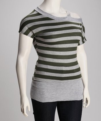 Gray & Olive Mira Asymmetric Top - Plus