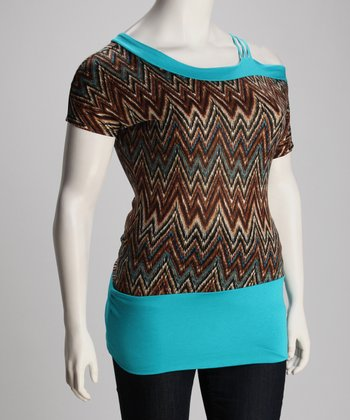 Jade Zigzag Mira Asymmetric Top - Plus