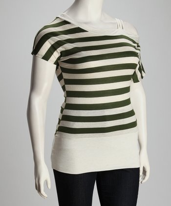 Olive & White Mira Asymmetric Top - Plus