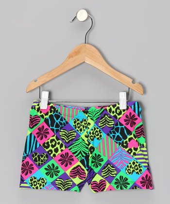 Clingons Activewear Neon Patchwork Active Shorts - Toddler & Girls