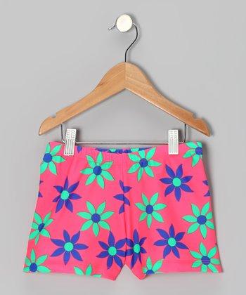 Clingons Activewear Pink Daisy Active Shorts - Girls