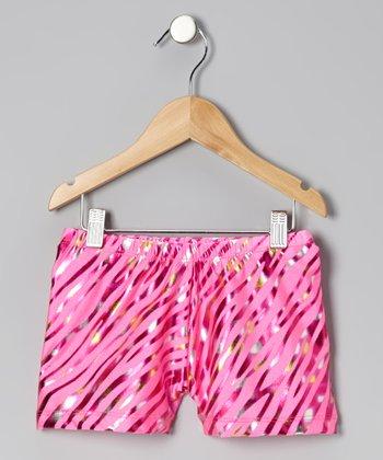 Clingons Activewear Hot Pink Foil Zebra Active Shorts - Girls