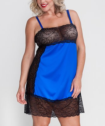 Cobalt Blue Emmy Silk-Blend Lace Plus-Size Chemise - Plus