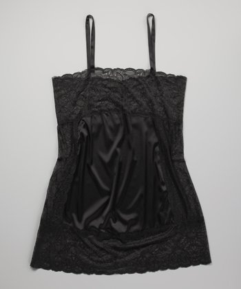 Black Emmy Silk-Blend Lace Chemise - Plus