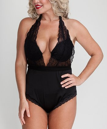 Black Olivia Sensual Plus-Size Bodysuit - Plus