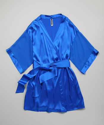 Cobalt Blue Celeste Silk-Blend Short Robe - Plus