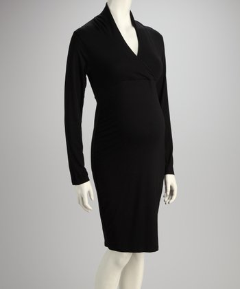 Black Faux Wrap Maternity Dress
