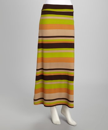 Tan Stripe Maxi Skirt