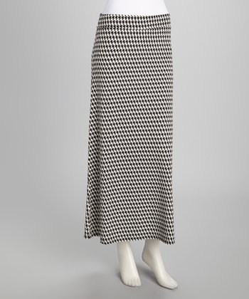 Black & White Houndstooth Maxi Skirt