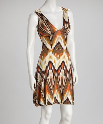 Brown Ikat Open-Back Dress