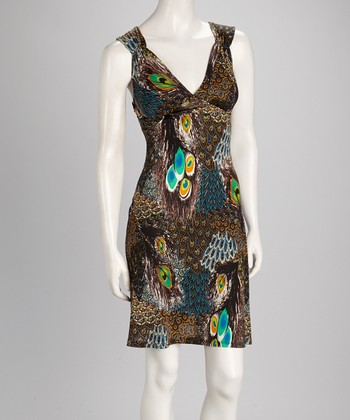 Peacock Feather Cutout Dress