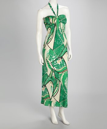Green Abstract Halter Maxi Dress