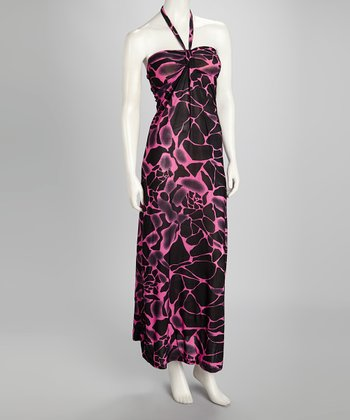 Black & Pink Giraffe Halter Maxi Dress