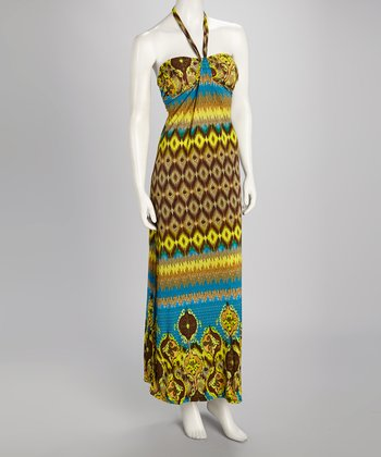 Blue & Citron Abstract Halter Maxi Dress