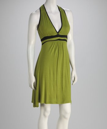 Green Empire-Waist Racerback Dress
