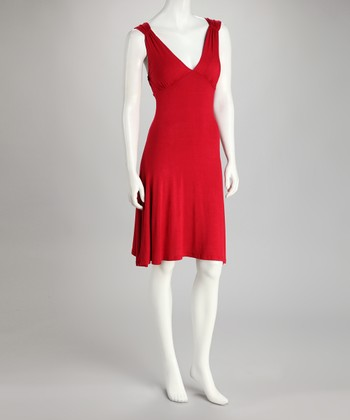 Red Ruched Sleeveless Dress