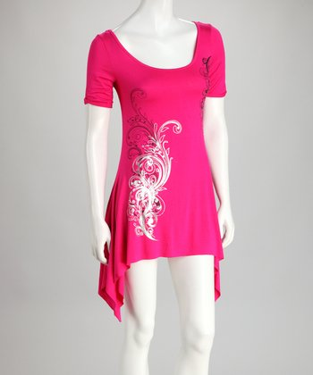 Fuchsia Short-Sleeve Sidetail Top