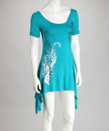 Turquoise Short-Sleeve Sidetail Top