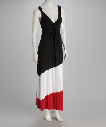 Black & Red Color Block Maxi Dress