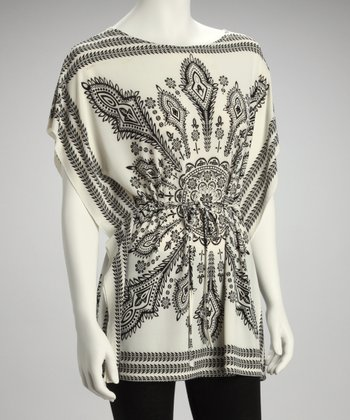 White Batik Cape-Sleeve Top