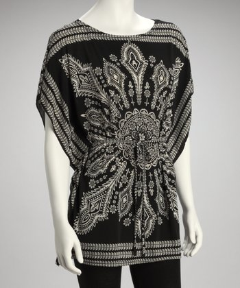 Black Batik Cape-Sleeve Top